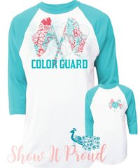 Teal Monogrammed Color Guard Raglan