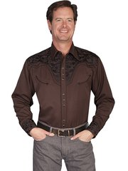 Legends Tooled Floral Embroidered Shirt - Chocolate