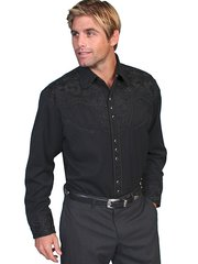 Legends Tooled Floral Embroidered Shirt - Jet Black