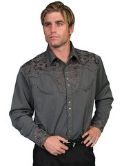 Legends Tooled Floral Embroidered Shirt - Charcoal