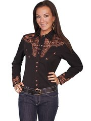 Legends Embroidered Floral Shirt -Black