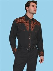 Legends Tooled Floral Embroidered Shirt - Black