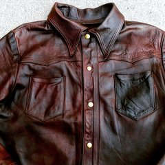 1970s MAYBE LEVIS 201 OILED DISTRESSES LEATHER WESTERN SHIRT 38