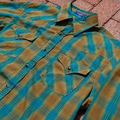 PENDLETON WESTERN SNAP SHADOWBOX BLUE & BROWN PLAID COTTON SPRING SHIRT