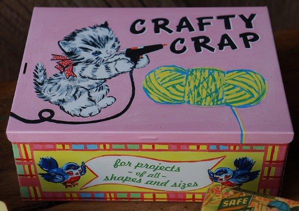 CRAFTY CRAP STASH BOX TIN