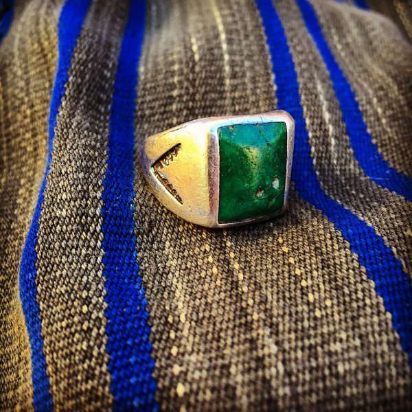 SOLD 1920s GREEN TURQUOISE STAMPED HEAVY SILVER MENS RING