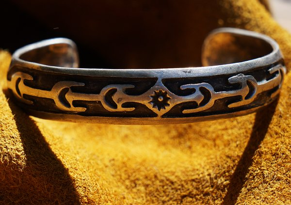 SOLD 1930s AMERICAN OVERLAY SUN & CACTUS CARVED SILVER CUFF