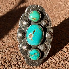 1920s SILVER FINGER LONG 3 BLUE TURQUOISE STONE STAMPED PEYOTE RING