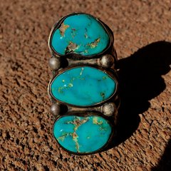 1920s GINORMOUS MENS SIGNED SPLIT SHANK 3 STONE TURQUOISE SILVER RING