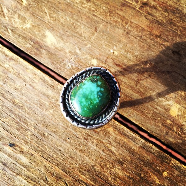 1960s BLUE GREEN TURQUOISE SILVER RING