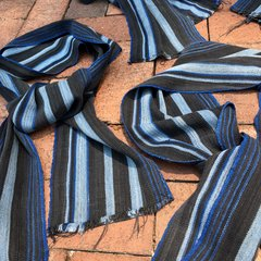 100yr OLD HANDWOVEN HANDSPUN YARN AFRICAN STRIPED INDIGO SLIM SCARF