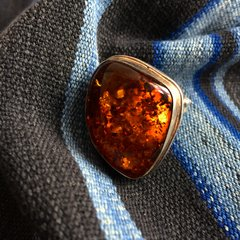 VINTAGE GIANT BALTIC AMBER SILVERRING GEM QUALITY