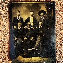 FRAMED NEW MEXICO WHISKEY DRINKING COWBOYS & INDIANS OUTLAW GANG TINTYPE