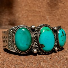 1920s INGOT SILVER STAMPED 3 BIG TURQUOISE BLUE GREEN STONES