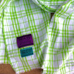 BRIGHT GREEN & WHITE PLAID WIDE COTTON SCARF