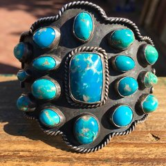 1950s HUGE VERY BLUE MULTI STONE TURQUOISE WIDE SILVER CUFF BRACELET