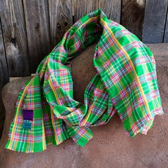 WOVEN PINK, ORANGE & GREEN COTTON PLAID TARTAN BIG SCARF