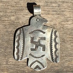 SOLD 1920s XL SILVER FRED HARVEY ERA ARROWS THUNDERBIRD WHIRLING LOG DOG TAG PENDANT