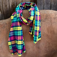 FLANNEL NEON TURQUOISE, YELLOW & PINK PLAID TARTAN BIG SCARF