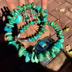 1860s-1920s HAND ROLLED HAND FILED PUMP DRILLED TURQUOISE TABS & HEISHI NECKLACE RESTRUNG