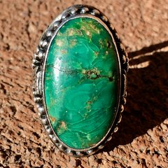 1920s SOUTHWEST STYLE BIG OVAL GREEN TURQUOISE ARROWHEAD RING