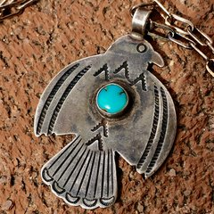 1920s SMALL - MEDIUM SIZED SILVER TURQUOISE STAMPED FRED HARVEY ERA THUNDERBIRD PENDANT ON NEW CHAIN