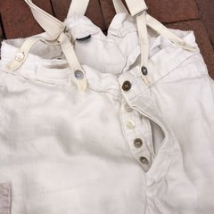 VINTAGE RALPH LAUREN 100% LINEN IVORY BACKBUCKLE SUSPENDERS BORO SHASHIKO PANTS WITH 100 YEAR OLD BUTTONS #2