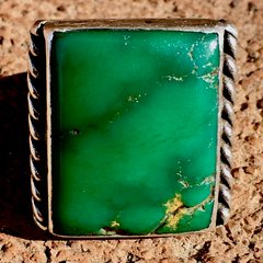 1920s SQUARE CERILLOS TURQUOISE ROPE STAMPED SILVER RING