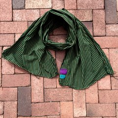 100% COTTON MARAKESH STRIPED GREEN SCARF