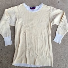 SOLD 1930s COTTON PERFORATED NEW HEATHERED YELLOW ATHLETIC UNDERSHIRT GYM SHIRT