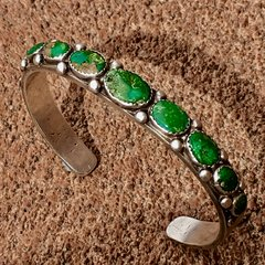 1920s HUMONGOUS MENS CERILLOS TURQUOISE SILVER CUFF