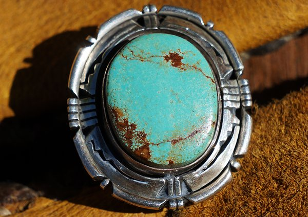 1980's EDDIE SECATERO TURQUOISE & SILVER RING