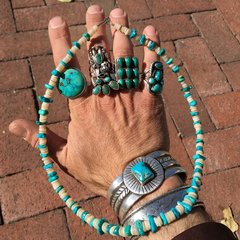 1900s PUMPDRILLED HAND ROLLED HEISHI SHELL & MACHINE DRILLED 1930s TURQUOISE NUGGET NECKLACE