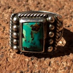 1920s SPLIT SHANK SILVER SMALL BLUE GREEN TURQUOISE RING