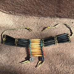 1880s BUFFALO BONE & SINEW WARRIOR BEADED NECKLACE with CIVIL WAR SOLDIER BUTTONS