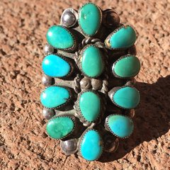 1950s BLUE GREEN 12 STONE TURQUOISE OVAL RING