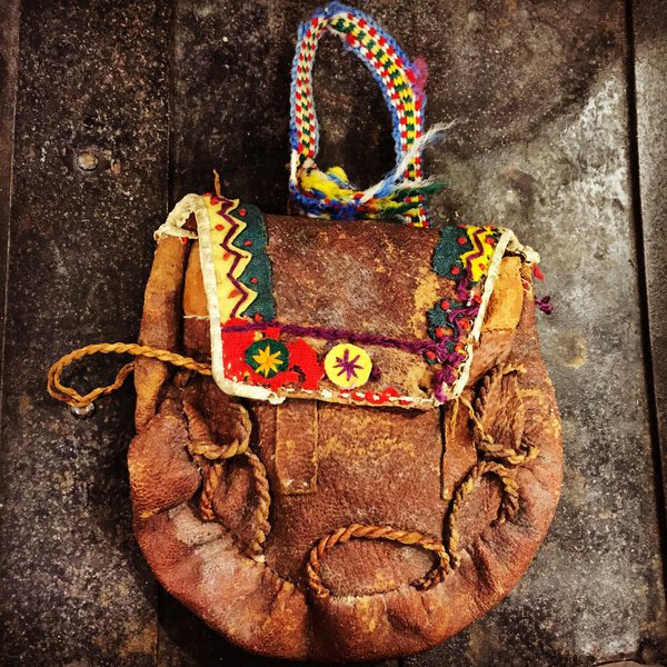 1870s BEADED ELK SKIN MEDICINE POUCH with 3 INNER POUCHES & ORIGINAL CONTENTS