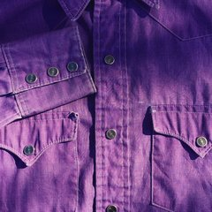 LEE SUN FADED WESTERN SNAP CHAMBRAY SHIRT in LAVENDER