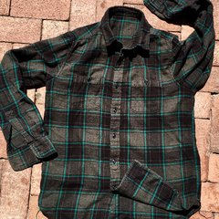 SOLD THIN SOFT BLACK TURQUOISE FLANNEL PLAID SHIRT