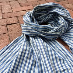 100% COTTON MARAKESH STRIPED LIGHT BLUE & WHITE SCARF