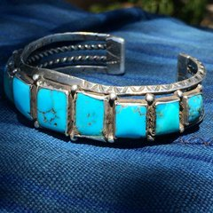 1920s BLUE GEM QUALITY SQUARE TURQUOISE ROW CUFF DOUBLE CARINATED STAMPED INGOT SILVER HAND DRAWN WIRE MENS BRACELET
