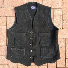 CUSTOM BUTTON & CLOSURE WOOLRICH CHALKSTRIPE WOOL WORKWEAR VEST XL