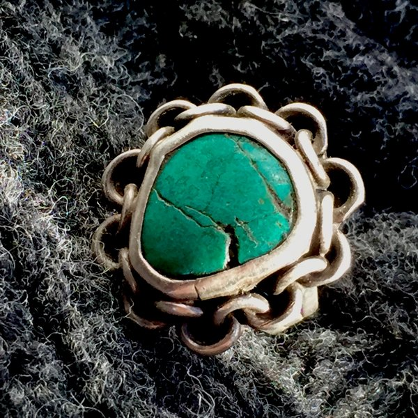 SOLD 1930s CHAIN LINK INGOT SILVER & GREEN TURQUOISE BIKER PINKY RING