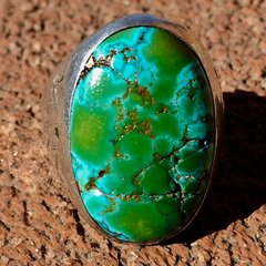 1920s ENORMOUS NEON BLUE GREEN OVAL THUNDERBIRD MENS RING