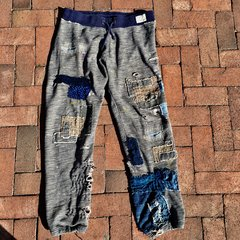 SOLD DENIM & SUPPLY SHASHIKO BORO 100% COTTON JOGGING SWEAT PANTS WE PATCHED TWICE AS MUCH AS ORIGINALLY SOLD