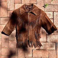 1970s BABY COWBOY OR COWGIRL FRINGED SEUDE LEATHER JACKET
