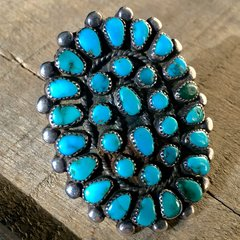 1950s SMALL TURQUOISE STONE HUGE SNAKE EYES SILVER RING