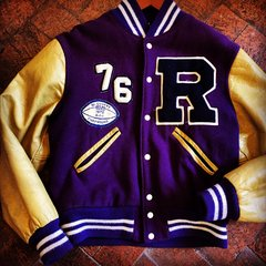 1976 PURPLE WOOL & PALE MUSTARD LEATHER VARSITY LETTERMAN JACKET