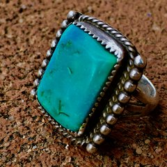 1930s BIG BEVELED BLUE TURQUOISE RECTANGLE SILVER RING