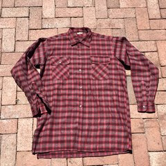 1990s FRENCH GRUNGE DAD NIGHT SHIRT LOUNGE SHIRT RED FLANNEL